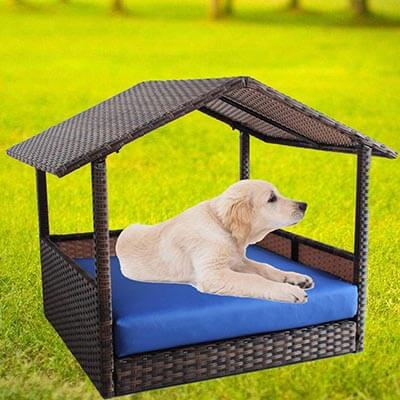 LEAPTIME Outdoor Rattan Pet Home