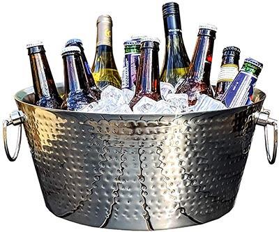 BREKX Hammered Stainless Steel Beverage Tub & Wine Chiller