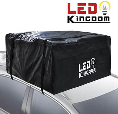 LED Kingdomus 55 Cubic Feet Heavy Duty Rooftop Soft Shell Carrier Bag with Reinforced Straps