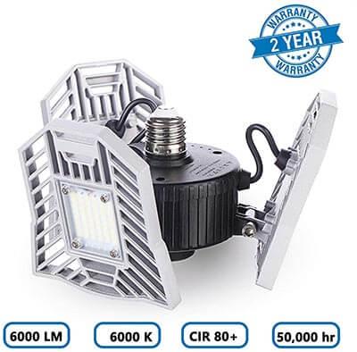 ELIVERN LED Garage Daylight LED 6000 Lumens Light Bulbs, Deformable Garage Ceiling Lights, 60W