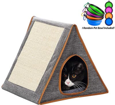 Portable Warm Fold Cat Condo with Cat Scratching Board for Indoor or Outdoor
