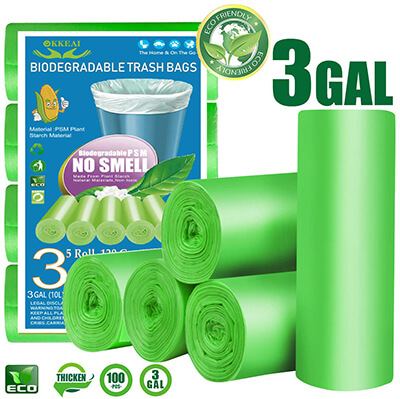 OKKEAI 3-Gallon Biodegradable Trash Bag