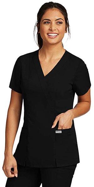 Grey's Anatomy 41101 Women's Mock Wrap Top-with Princess Seams