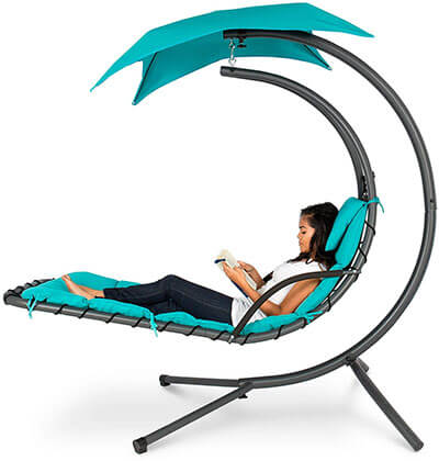 Best Choice Products Outdoor Hanging Curved Chaise Lounge Chair