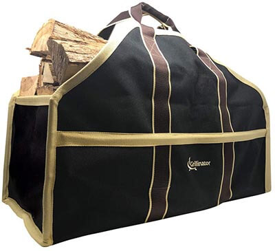 Grillinator Ultimate Firewood Log Carrier Self Standing Design, Padded Handles