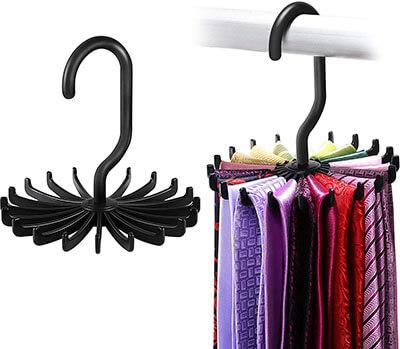 IPOW Updated Twirl Tie Rack Belt Hanger Holder Hook