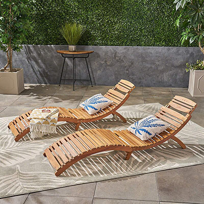 Great Deal Furniture Lisbon Outdoor Folding Chaise Lounge Chair
