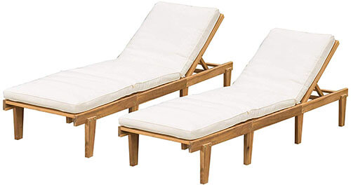 Deck Furniture, Teak Chaise Lounge Chair by Christopher Knight Home
