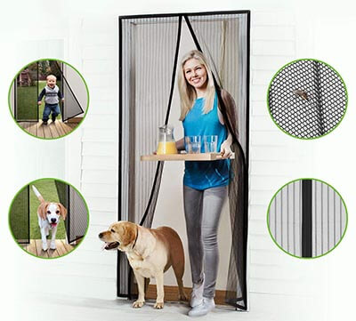 Homitt Magnetic Screen Door with Heavy Duty Mesh Curtain with Hook and Loop