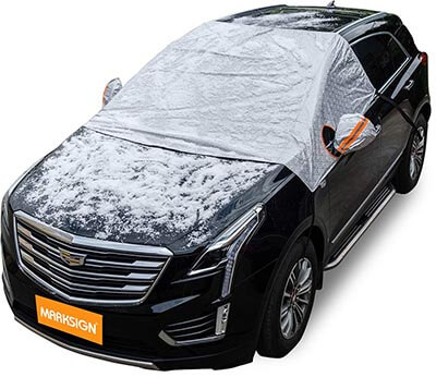 MARKSIGN Cotton Lined PEVA Fabric Windshield Snow Cover for Cars, Compact, and Mid-size SUVs