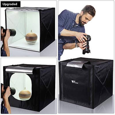 Amzdeal 20 x 20-inch Professional Photography Tent with LED Light 4 Backdrops