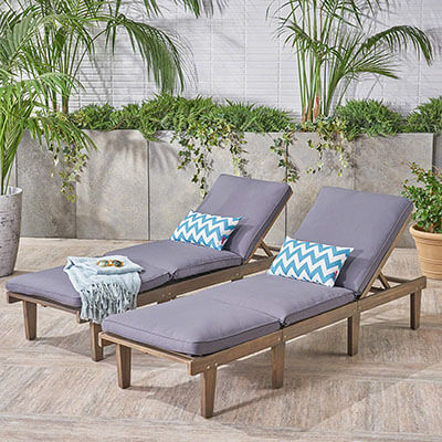 Great Deal Furniture 304426 Alisa Outdoor Acacia Wood Chaise Lounge