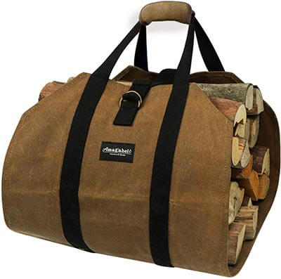 Amagabeli Fireplace Waxed Canvas Sturdy Wood Carrying Bag