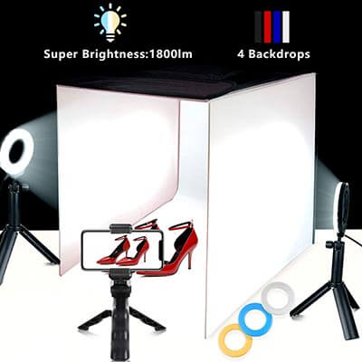 TRAVOR 16''x16'' Photography Studio Kit with 6 Filters, and Phone Holder