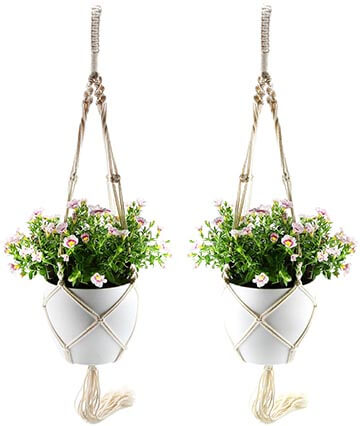 "T4U 7"" Macrame Planter Pot Hanger and Plastic Self-Watering Planter"