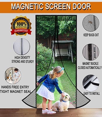Scoofex Magnetic Screen Door with Mesh Curtain Full Frame Velcro