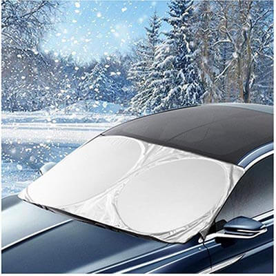 AROBA Windshield Sun Shade Snow Cover Car Sun Shade with Stickers