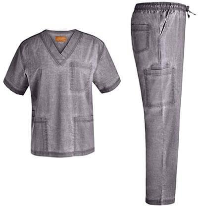 Jeanish Scrubs EXCLUSIVE Men V-Neck Stretch Scrub Set