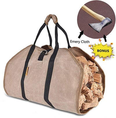 DUANGMUERS Waxed Canvas Log Carrier Firewood Tote Bag