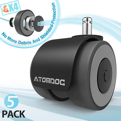 ATOMDOC Office Chair Caster Wheels, Quadruple Ball Bearing Design