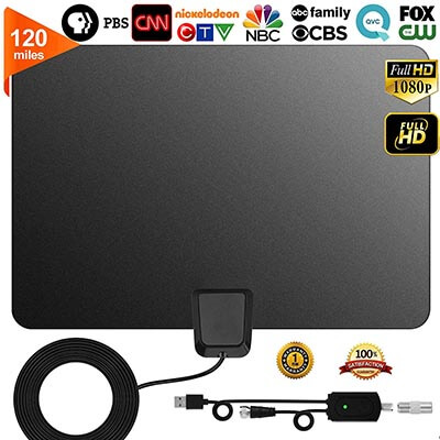 GreenYellow Indoor Digital HDTV Amplified TV Antenna Freeview 4K 1080P HD VHF UHF, 120 Miles Range