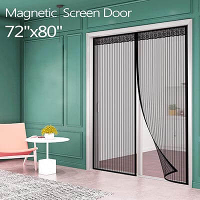 IKSTAR Sliding Magnetic Screen Door for French Door with Full Frame Magic Tape