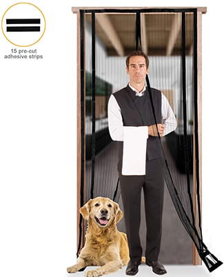 Runpo Magnetic Screen Door with Heavy-Duty Mesh Curtain with Frame Hook & Loop