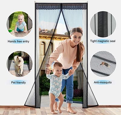 Zoneyee Heavy Duty Magnetic Mesh Curtain with Fly Mosquito Screens