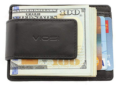 Viosi RFID Men's Leather Magnetic Money Clip Wallet