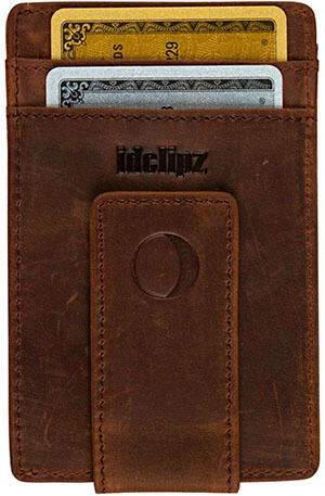 idclipz Slim Leather Money Clip Wallet Credit Card Holder & ID Case