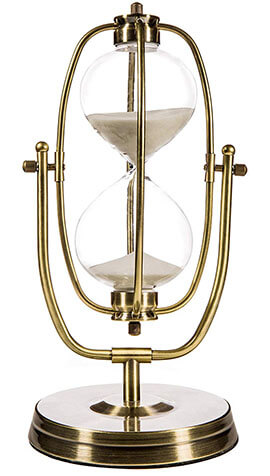 MyGift 12'' Brass-Tone Metal Rotating Sand Hourglass