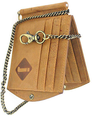 Junoon Club Vintage Leather Money Clip Wallet with Anti-Theft Chain
