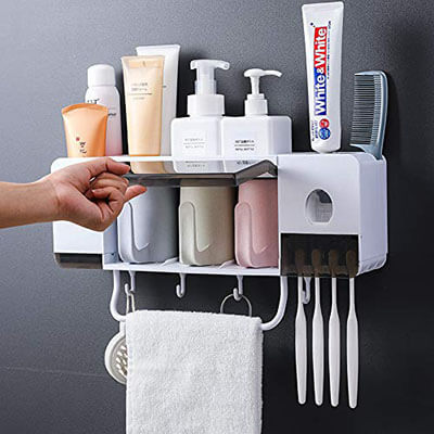BHeadCat Automatic Toothpaste Dispenser & Anti-dust Toothbrush Holder
