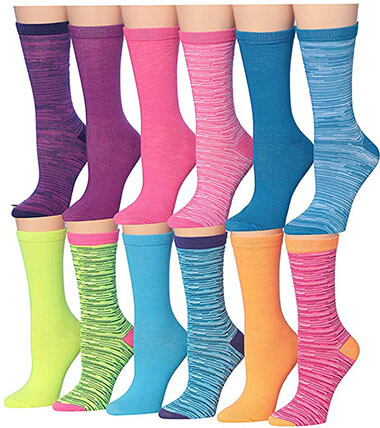Tipi Toe Women's Colorful Patterned Crew Socks