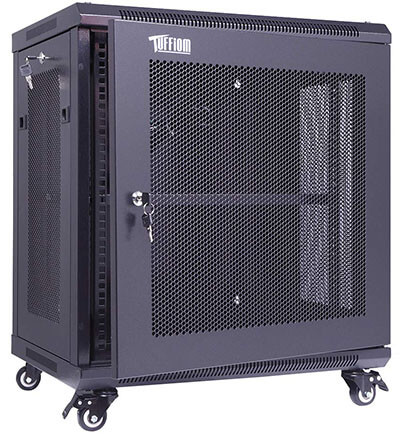 TUFFIOM 12U Casters Network Enclosure, 19'' Server Equipment Rack