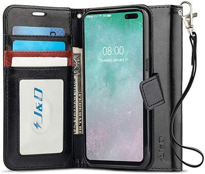 J&D Galaxy S10 5G Case with RFID Blocking Wallet