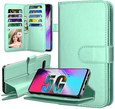 Takfox PU Leather Wallet Case for Galaxy S10 5G with 9 Card slots
