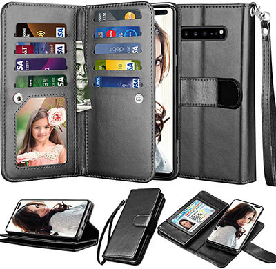 NJJEX Wallet Case for Samsung Galaxy S10 5G with Kickstand