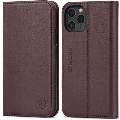 SHIELDON Genuine Leather iPhone 11 Pro Wallet Case