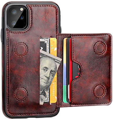 KIHUWEY Premium Leather iPhone 11 Pro Wallet Case with Kickstand