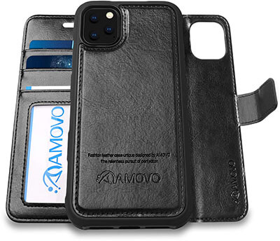 AMOVO Case for iPhone 11 Pro Vegan Leather Detachable Wallet