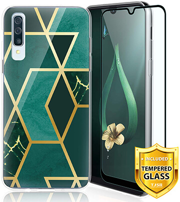 TJS Phone Case for Samsung Galaxy A50 with Tempered Glass Protector