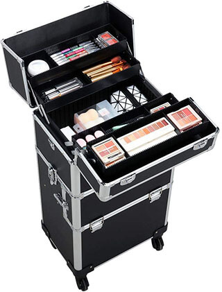 Yaheetech 3 in 1 Professional Makeup Train Case