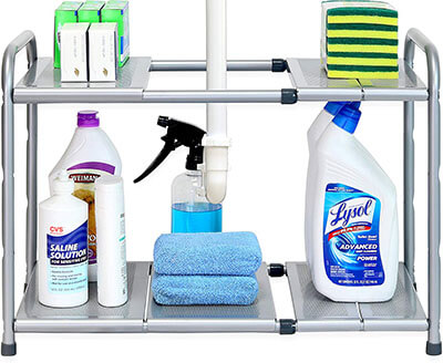 SimpleHouseware Under Sink 2 Tier Shelf Organizer