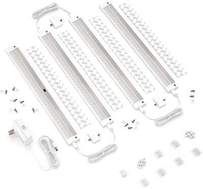 EShine White Finish 4 Panels Under Cabinet Lighting Kit