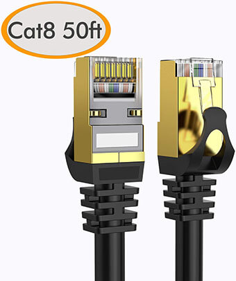 Dacrown 26AWG 40Gbps 2000Mhz SFTP Cat8 Patch Cord, 50Ft
