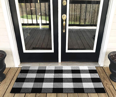 YHOUSE Buffalo Plaid Rug Outdoor Doormat