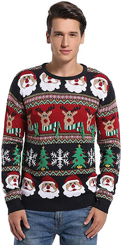 Daisyboutique Men's Christmas Decorations Stripes Sweater
