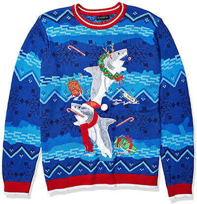 Blizzard Bay Men's Ugly Christmas Sweater Sharks