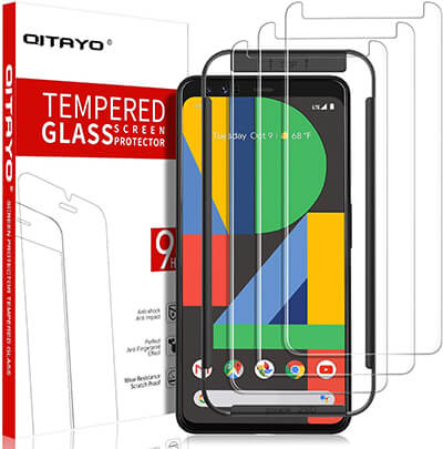 QITAYO Tempered Glass Screen Protector for Google Pixel 4